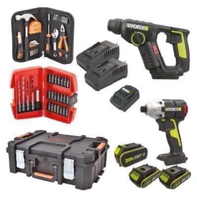 סט פטישון + אימפקט כולל 3 סוללות, כלים וארגז כלים קשיח